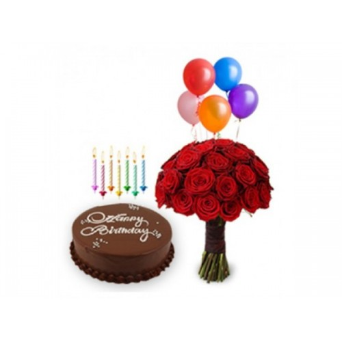 Chocolate Cake with Flowers and blooming balloons