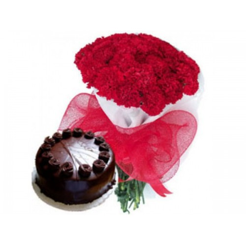 Chocolate Cake with Red Carnations Bunch