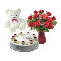 Flowers + Teddy + Cake