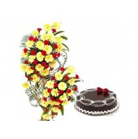 Flowers Arrangement with Cake