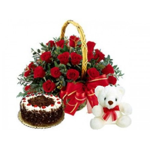 Basket of Roses with Teddy and Cake