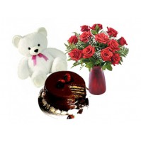 Chocolate Cake with Flowers n Teddy