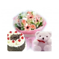 Flowers with Cake n Teddy