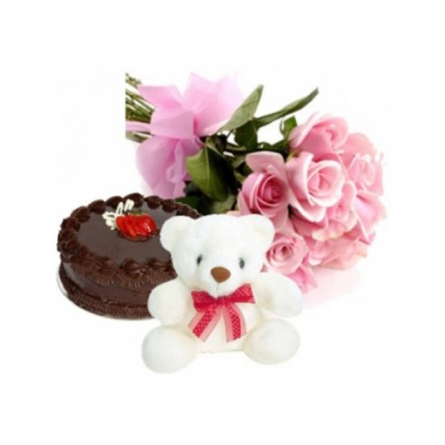 Flowers with Teddy and Cake