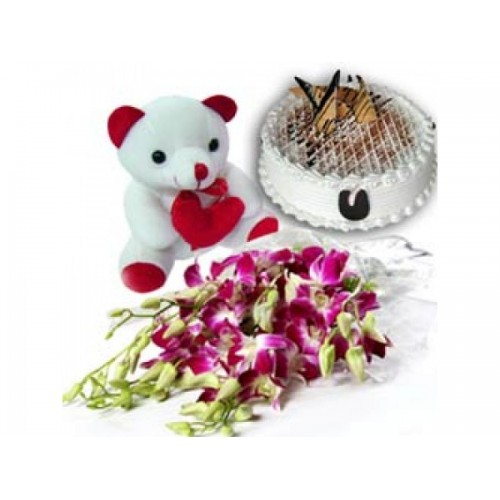 Flowers with Teddy n Cake