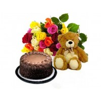 Mixed Roses with Teddy n Cake