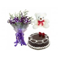 Orchid with Cake and Teddy