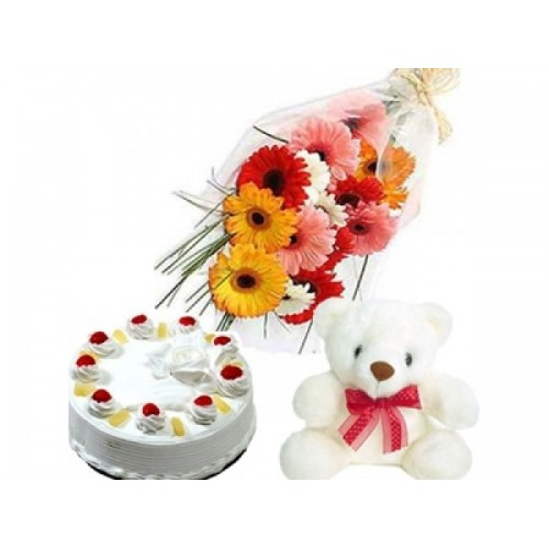 Teddy with Flowers n Cake