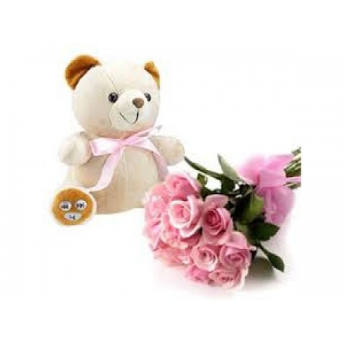 Teddy with PINK ROSES