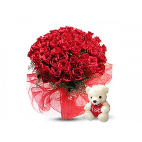 Half Century in Roses WITH SMALL TEDDY