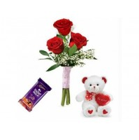 3 Roses FOR LOVE +Teddy Bear+Chocolate