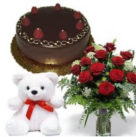 Combo of Roses with Teddy and Cake