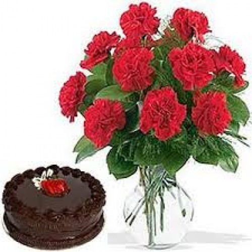 CHOCO CAKE WITH CARNATIONS COMBO