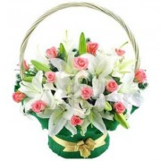 Basket of Exotic Lilies & Roses