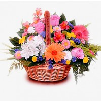 Mix Bright Colour Flower Basket