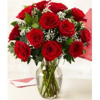 Bunch of 10 red roses .IN VASE