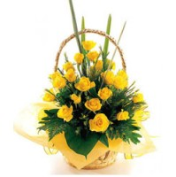 Smiling Yellow Rose Basket