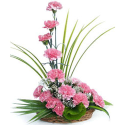 Pink Carnations Basket