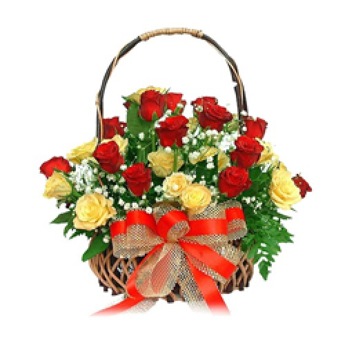 A sweet combo of 24 red and yellow roses clubbed in with Basket.