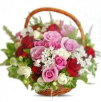 MIX ROSES HANDLE BASKET