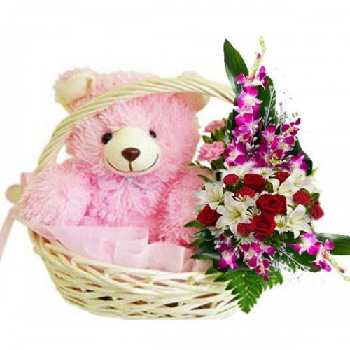 EXOTIC FLOWERS WITH A CUTE PINK TEDDY