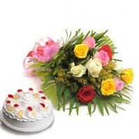 PINE APPLE CAKE WITH MIX ROSES BUNCH