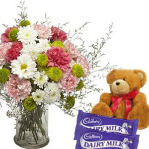 MIX FLOWERS WITH SMALL TEDDY AND CHOCOLATES