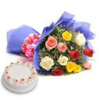 MIX ROSES BUNCH WITH PINE APPLE CAKE