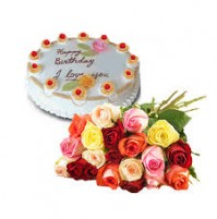 CAKE WITH MIX ROSES BUNCH