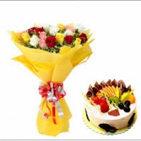 MIXED ROSES IN TISSUE PACKING WITH FRESH FRUIT CAKE