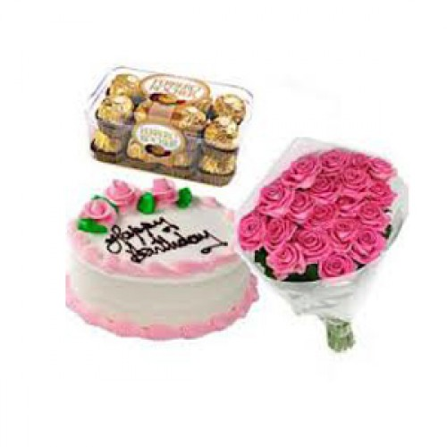 NICE COMBO OF CAKE,CHOCOLATES AND PINK ROSES