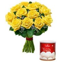 10 YELLOW ROSE BUNCH & SPONCH RASGULLA 1 kg
