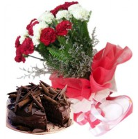 CARNATIONS WITH TRUFFL CAKE