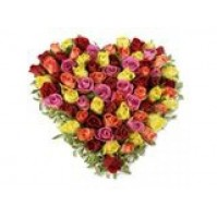 Mix colour roses heart
